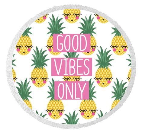 Good Vibes Only Round Beach Towel