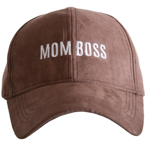 """Mom Boss"" Ultra Suede Baseball Hat"