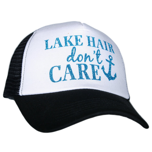 """Lake Hair Don't Care"" Glitter Trucker Hats 