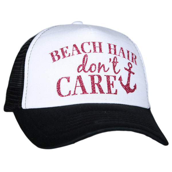 """Beach Hair Don't Care"" Glitter Trucker Hat 