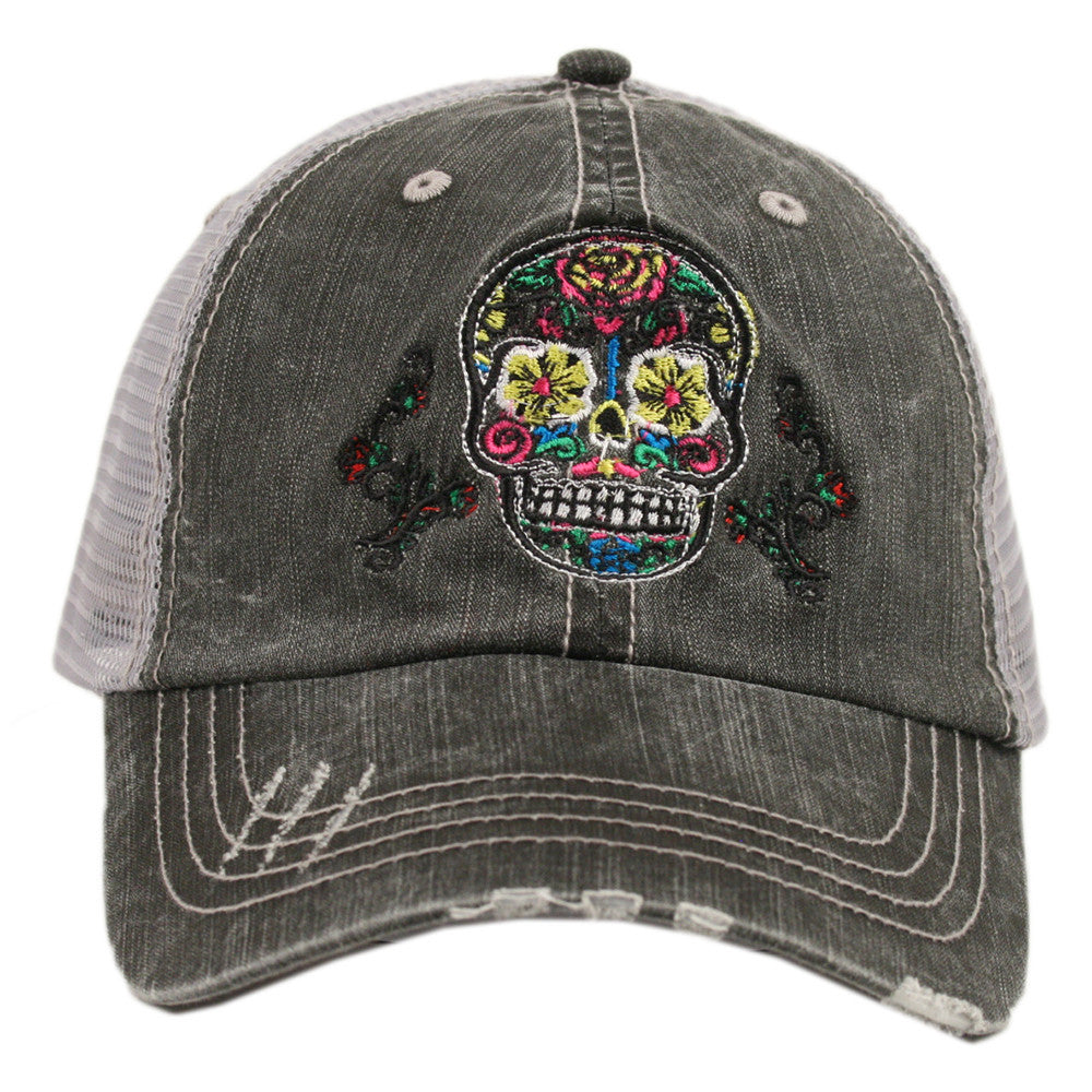 Sugar Skull Trucker Hat | Beri and Nicole's Boutique | Women's Clothing, Accessories, Jewelry, and Home Decor and Goods