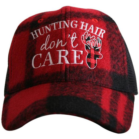 """Hunting Hair"" Plaid Trucker Hat"