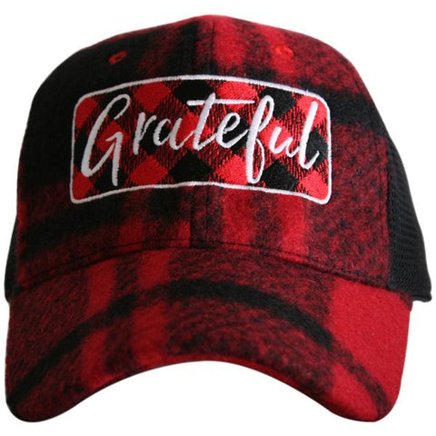 """Grateful"" Plaid Trucker Hat"
