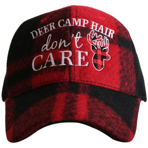 """Deer Camp Hair"" Plaid Trucker Hat"