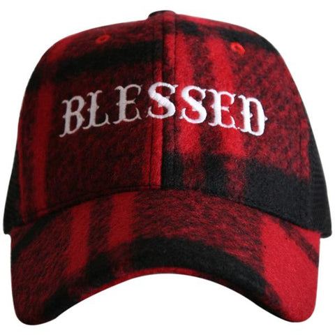 """Blessed"" Plaid Trucker Hat"