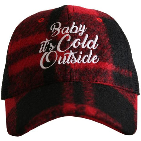 """Baby It's Cold Outside"" Plaid Trucker Hat"