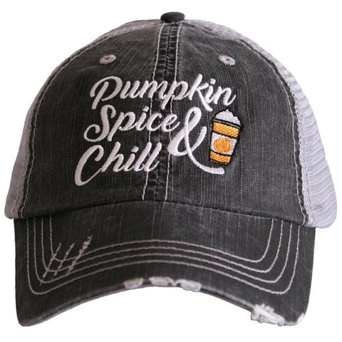 """Pumpkin Spice & Chill"" Trucker Hat"