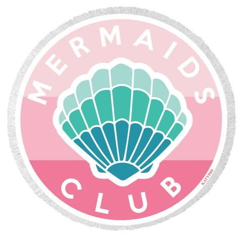 Mermaids Club Round Beach Towel
