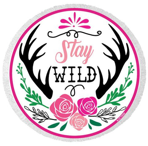 Stay Wild Round Beach Towels