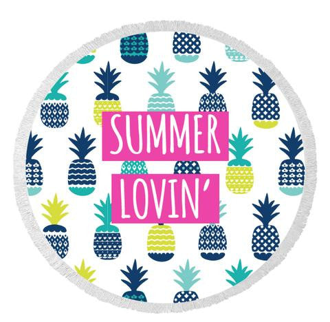 Summer Lovin Round Beach Towel