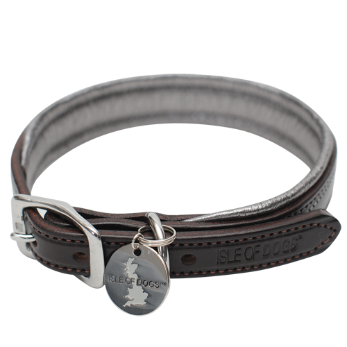SET - Silver Leather Collar and Leash