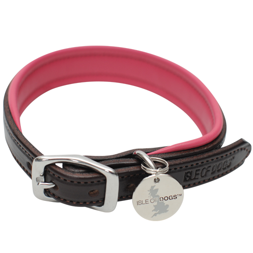 SET - Pink Leather Collar and Leash
