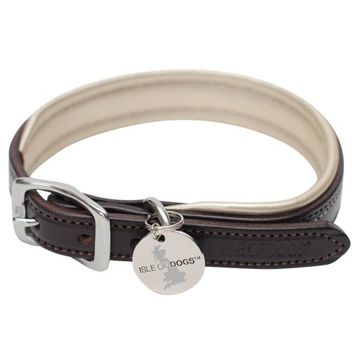 SET - Gold Leather Collar and Leash