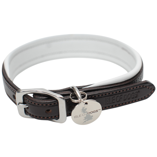 SET - White Leather Collar and Leash