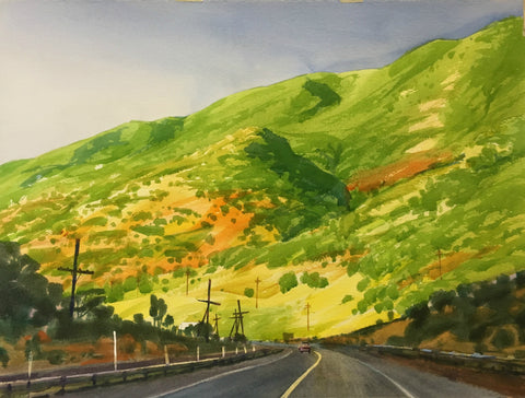 Original Watercolor - Highway 6, Spanish Fork Canyon