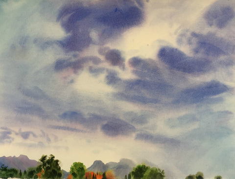 Original Watercolor - Rainstorm over Wasatch Mountains