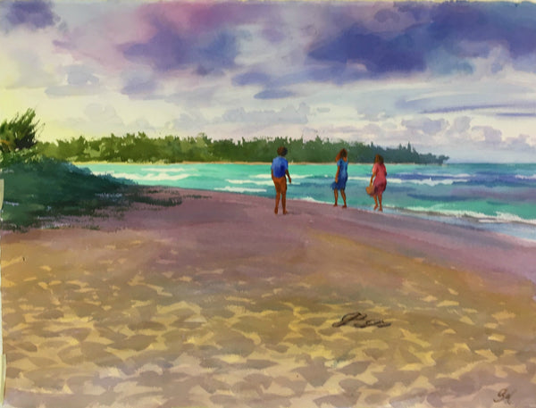Original Watercolor - Slippahs , Temple Beach