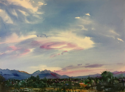 Original Watercolor -Sunset over Utah Valley
