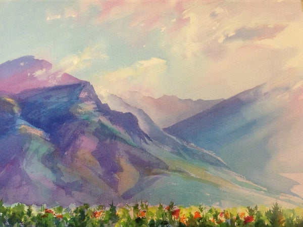 Original Watercolor - Wasatch Front from Provo