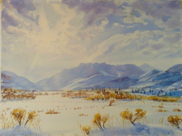 Original Watercolor - Winter Timp from Heber Valley