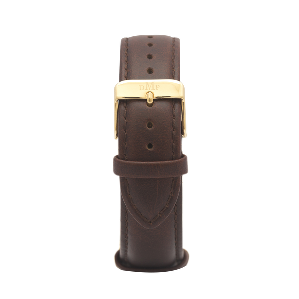 Brown Leather Strap Gold Buckle