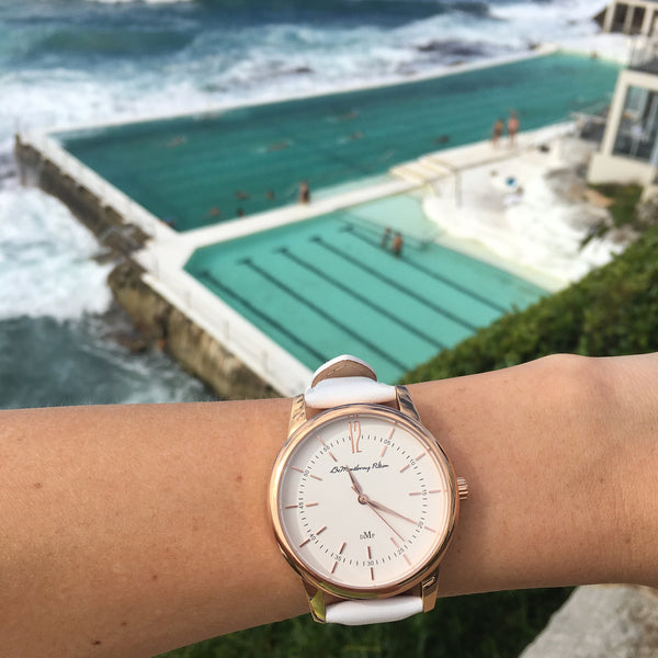 Classic Rose Gold Watch with White Leather Strap by DeMontbrayPilton
