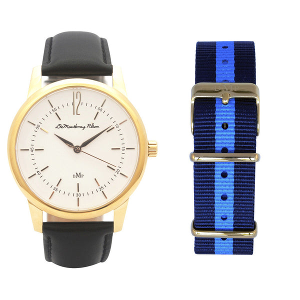 Classic Gold Watch with Black Leather Strap by DeMontbrayPilton