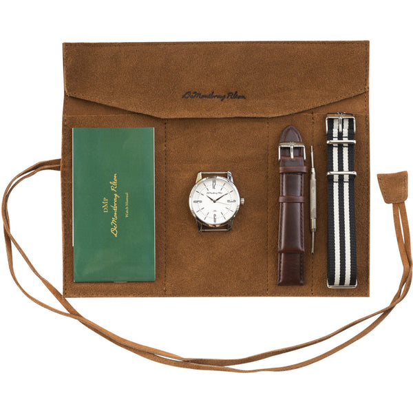 Leather travel case Australian Designer Silver Watch Fob Brown Leather strap Black Nato Strap Luxury