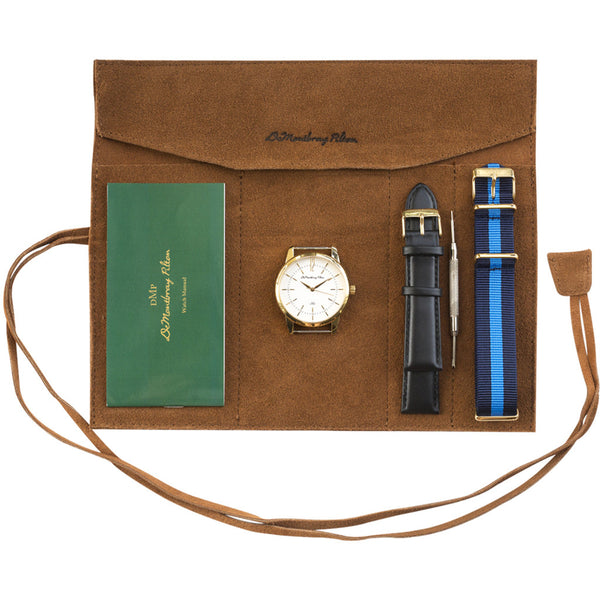 Australian Designer Gold Watch Leather Travel Case Black Leather strap Blue Nato Strap Luxury