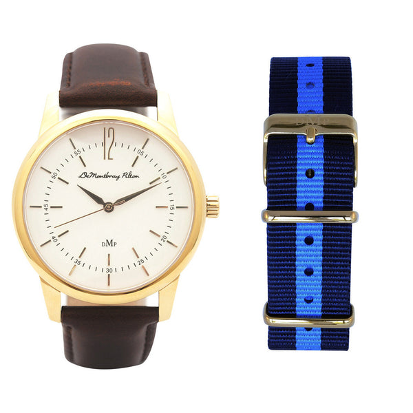 Australian Designer Gold Watch Fob Brown Leather strap Blue Nato Strap Luxury