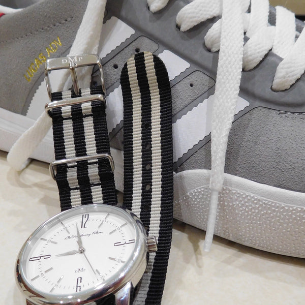 Cool Adidas Sneaks Adidas Kicks  Australian Designer Silver Watch Fob Black Leather strap Blue Nato Strap Luxury
