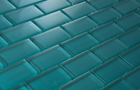BRICK DIMENSIONS COLLECTION - Teal Glass - 1x2""