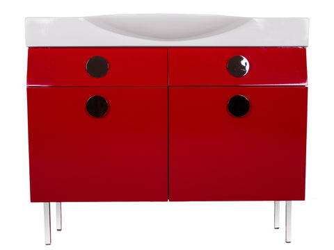 "Palos 42"" Vanity Set - Shiny Red"