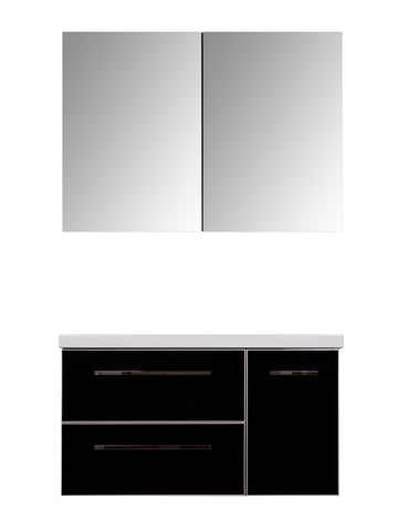 FUNKY VANITY SET - Black Shiny - 42""