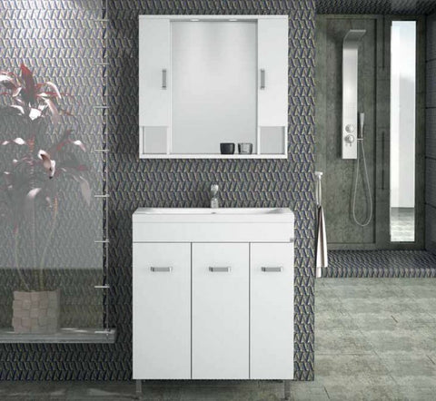 MILITOS VANITY SET - White Lacquer - 32""