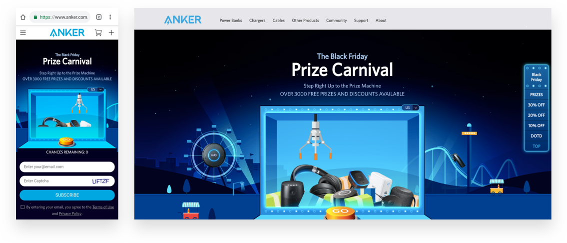 Anker gamified its BFCM offer with the Prize Carnival