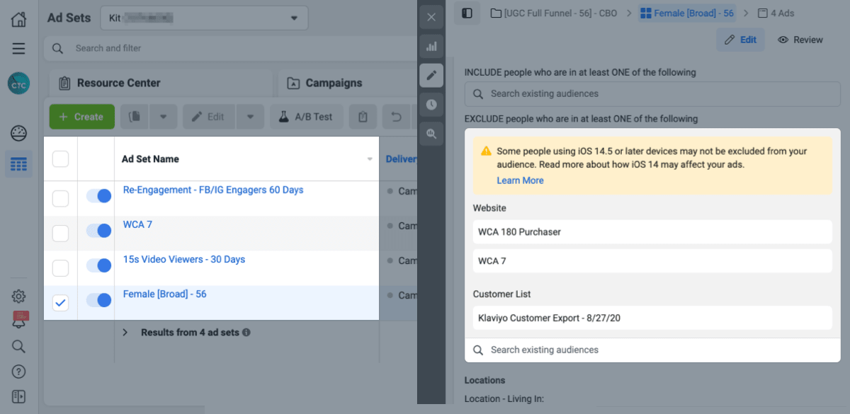 facebook ads best practices: setting funnel exclusions