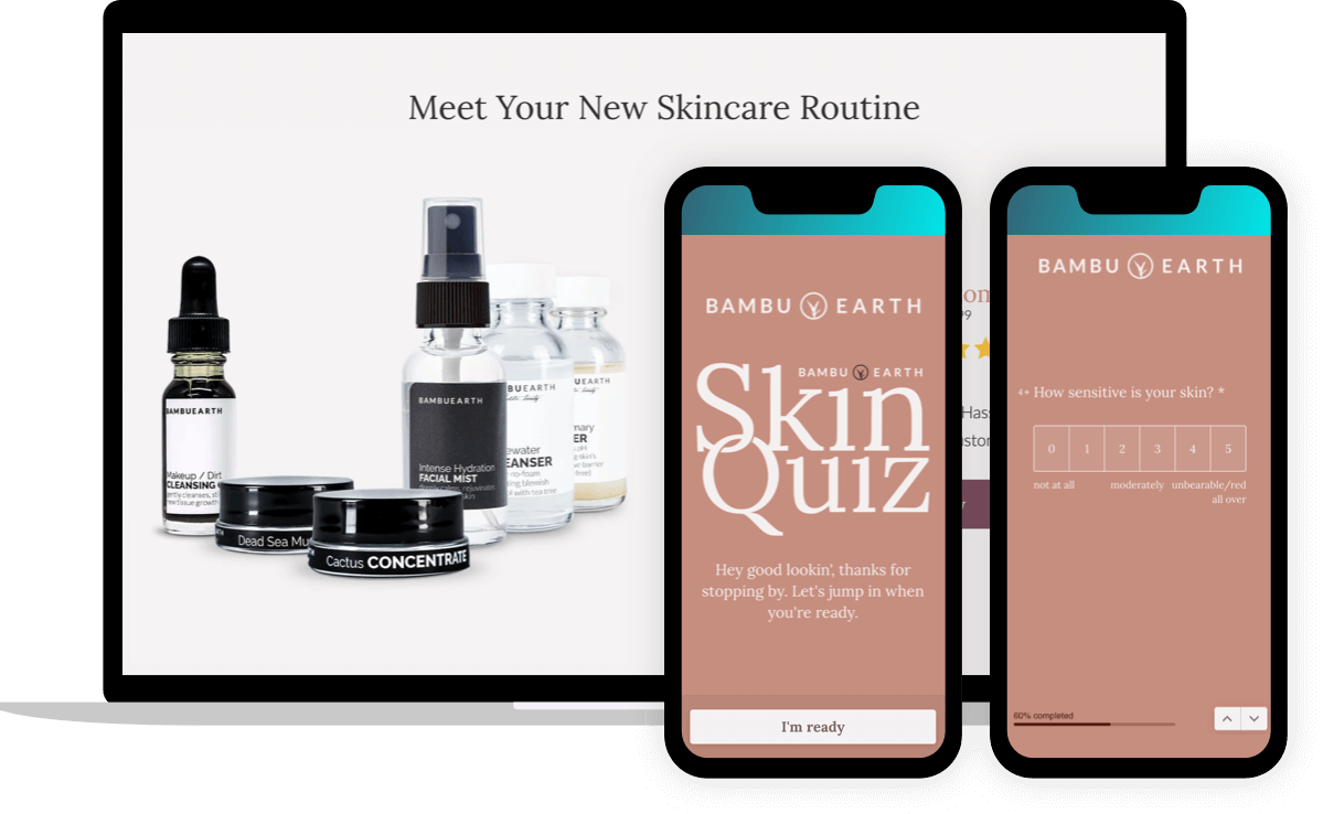 Bambu Earth's skin quiz leads to a landing page with products that match customer needs.