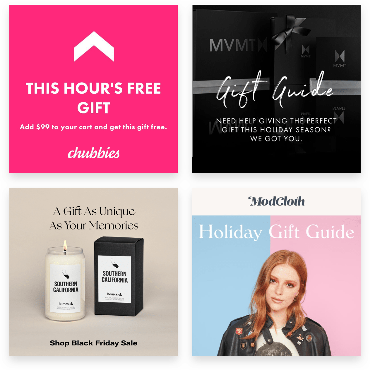 Black Friday ecommerce social media gifting and guide ads