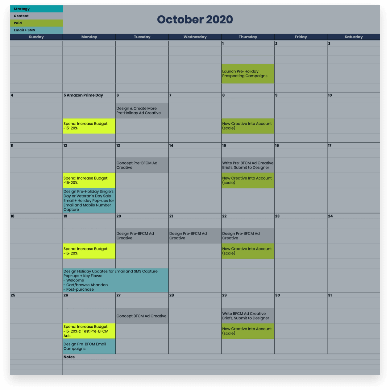 October Social Media Campaigns Calendar Budget Increases