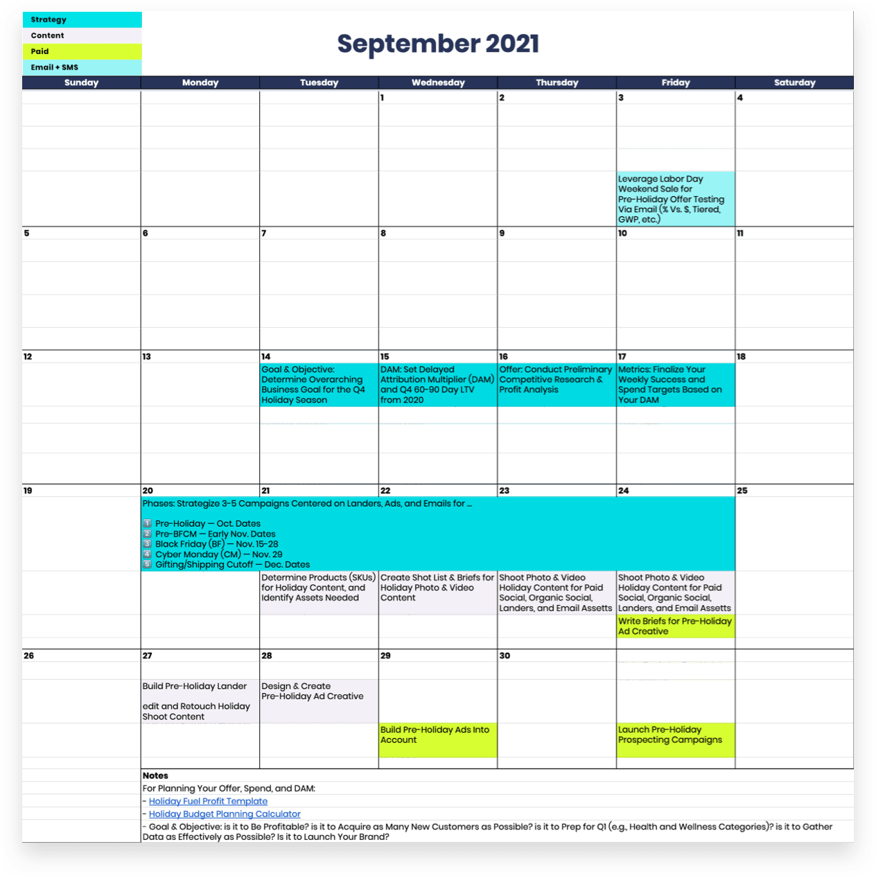 September 2021 Planner for your Black Friday social media campaigns