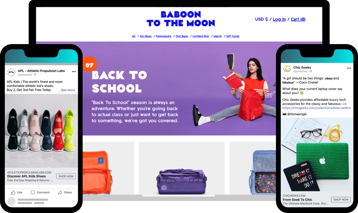 ecommerce marketing calendar Q3 peak: Back to School promotions from APL, Baboon to the Moon, and Chich Geeks