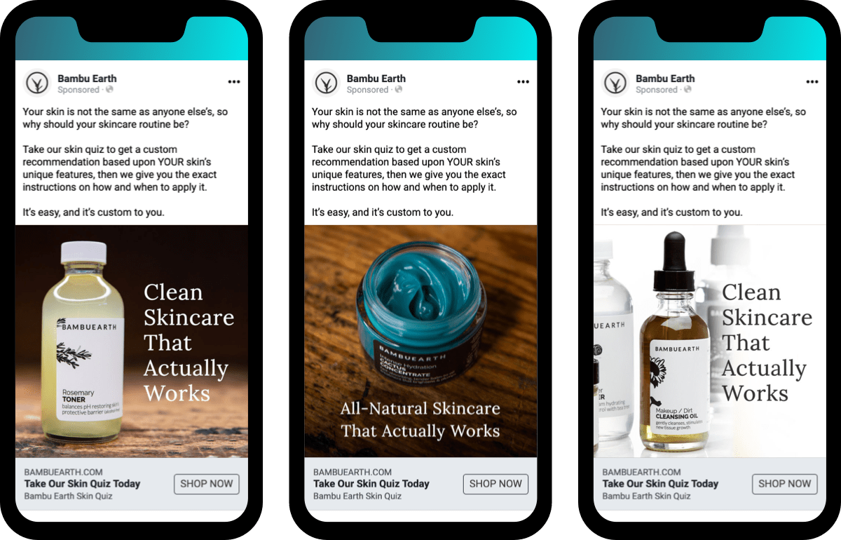Bambu Earth facebook ad examples: creative testing with the same copy for each ad