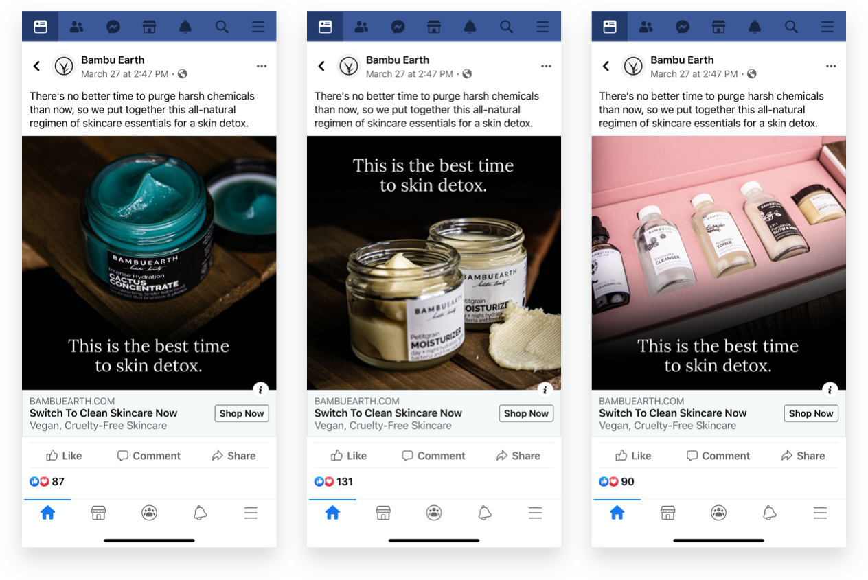 Facebook marketing ad creative examples for Bambu Earth