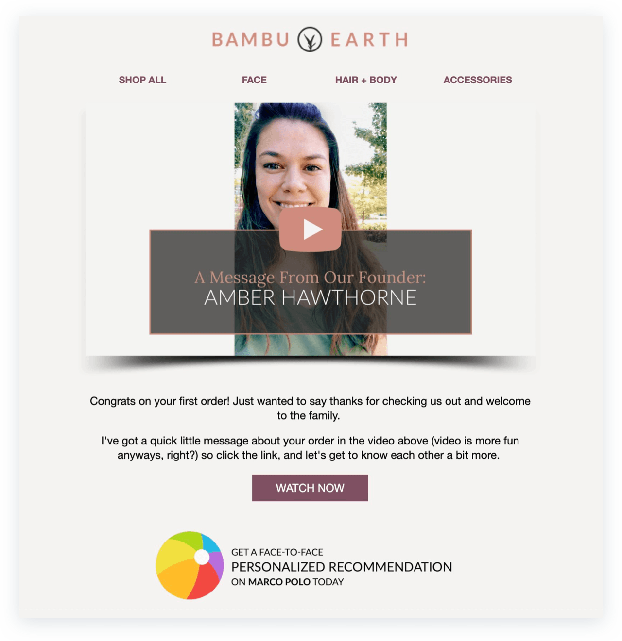Bambu Earth first-order email