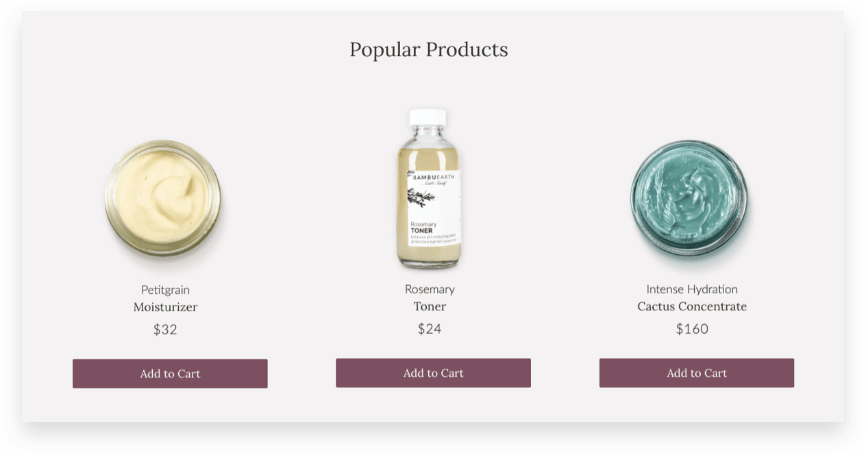 ecommerce beauty brand Bambu Earth's most popular products