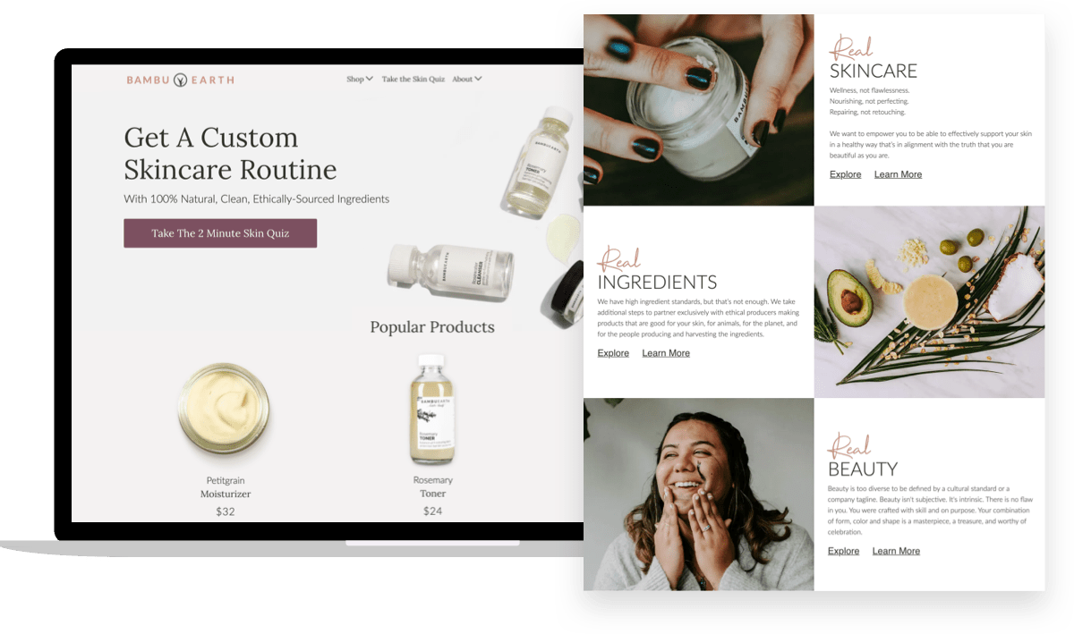 Bambu Earth, ecommerce beauty brand: Real Skincare, Real Ingredients, Real Beauty