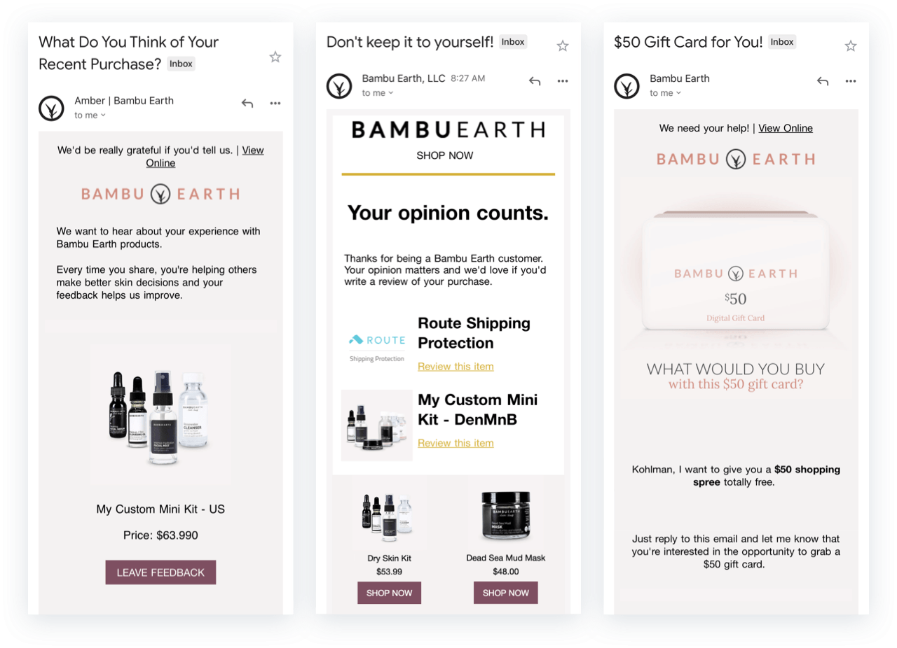 Bambu Earth request for review emails for retention