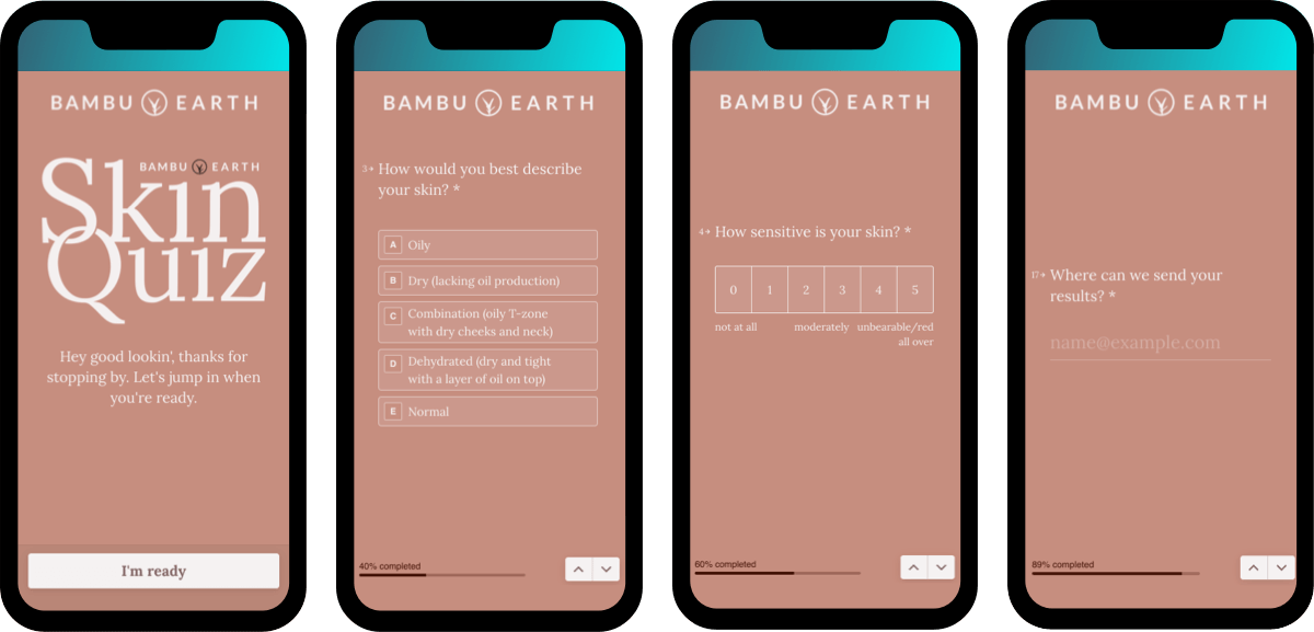Shoppable quizzes as a tool to gather user emails for your email marketing efforts this Black Friday: Bambu Earth