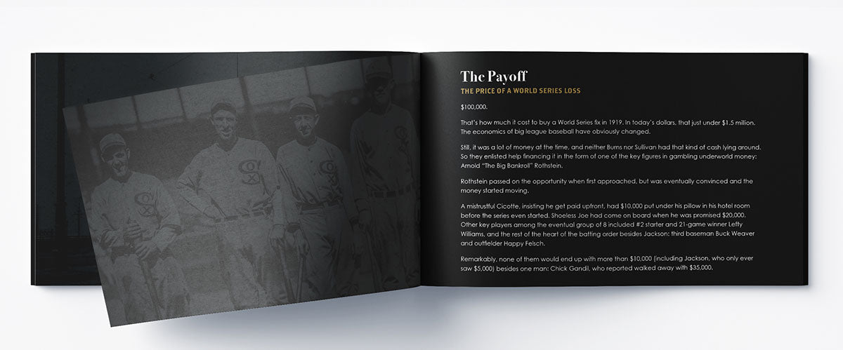 Signature series booklet that tells the full story of the 1919 'Black Sox' scandal